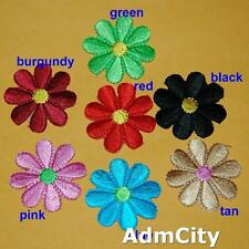 2 Floral Flower Iron Sew on Embroidered Patch Badge Transfer Clothing Biker