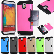 Hybrid Rugged Credit Card Wallet Case Cover For Samsung Galaxy Note 3 III N9000