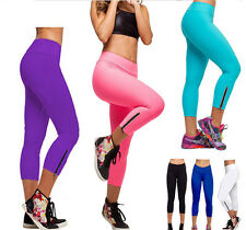 New Women Capri YOGA Running Pants High Waist Cropped Leggings Fitness S-XL