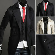 Double Breasted Mens Autumn Casual Long Trench Duster Coats Slim Jackets Outwear