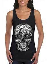 Sugar Skull blck&white Day of the Dead Women's Tank Top Mexican Gothic Shirts