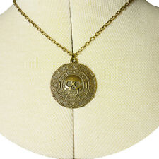 Aztec Skull Pirates Of Caribbean Necklace Bronze Nickel Free Choose Chain Length