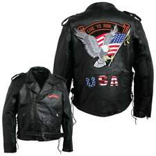 MENS MOTORCYCLE LEATHER JACKET w/EAGLE USA & LIVE TO RIDE PATCHES