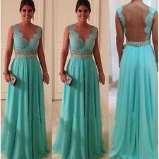 Wedding Womens Chiffon Lace Long Bridesmaid Prom Formal Evening Party Gown Dress