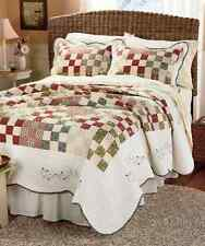 Patchwork Quilt Bedspread Floral Rustic Country Embroidered Full/Queen King Sham