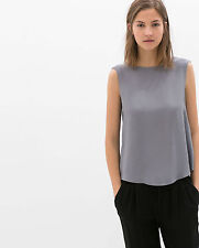 ZARA GREY TOP WITH STRAPS AT THE BACK SIZE S / M SOLD OUT IN STORES