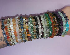 Mixed Selection of NATURAL GEMSTONE CRYSTAL POLISHED TUMBLE CHIP BRACELETS!