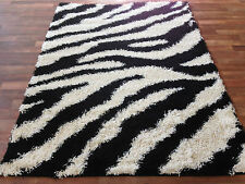 Zebra Shaggy Rug Modern Black White Black Purple Small Medium Large NEW RUG!