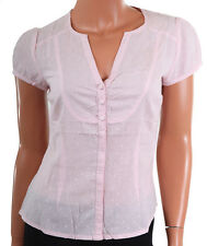 NEW H&M TEXTURED SWISS DOTS COTTON SUMMER PINK BUTTON FRONT BLOUSE TOP