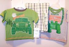 New w/Tag FISHER PRICE Boys 2 Pc Set Navy Tee Shirt and Blue Plaid Shorts 24 Mo