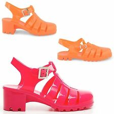 LADIES FLAT LOW HEEL SUMMER SHOES HOLIDAY BUCKLE WOMENS JELLY SANDALS SIZE 3-8