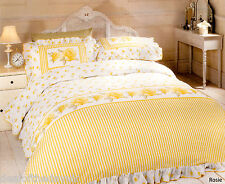 Vintage Rose Duvet Cover Set Frilled Cotton Blend Yellow Double King Quilt Bed