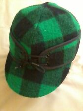 Railroad Cap,Woolrich Green & Black Plaid, NEW, Langenberg Hat Company, USA Made