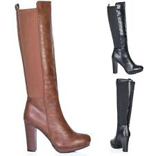 NEW WOMENS BLOCK HEEL STRETCH KNEE HIGH BOOTS SIZE 3 - 8