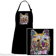 Colorful Abstract Yorkshire Terrier Yorkie Graphic Black Chef Designs Bib Apron