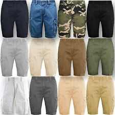 Mens Cargo Combat Shorts Cotton Summer Halfpant Chino Jeans Knee length New