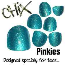 CHIX Nail Wraps PINKIES Aqua Glitter Sparkles JUST 4 TOES Foils Nails Salon