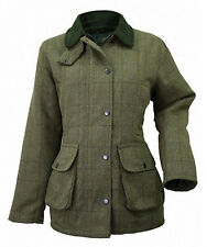 Plain Women's Tweed Jacket Quilted Lined Green Tailored Fitted Waterproof 8 - 22