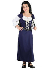 Maid Marian Marion Tudor Girl Fancy Dress Up 3-13Yrs Medieval Wench Costume Kids