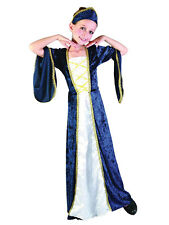 Tudor Elizabethan Princess Blue 3-11 Years Girls Regal Costume Fancy Dress
