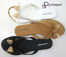NEW Womens Fashion Summer Flip-flops Flats Sandals Shoes Bow Cute Comfort Casual