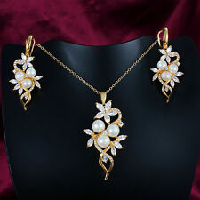 18K Gold White Gold Plated Zircon Crystal Pearl Necklace Earring Set Women Gift