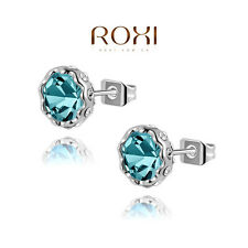 ROXI Jewelry Swarovski Crystal Round Hot Cubic Zirconia Stud Earrings lightblue