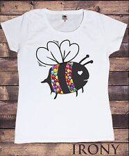 Womens White T-Shirt With Bumblebee Print Smarties Print Womens Fastion T shirt