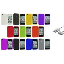 Color Silicone Rubber Soft Case Cover Accessory+Sync Cable for iPhone 4S 4G 4