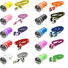 Braided Rope 3FT USB Sync Data Cable Cord+2.1Amp Rapid Car Charger for iPhone