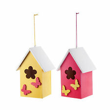Hanging Painted Wooden Garden Bird House with Butterflies - Two Colours
