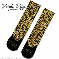 "NIKE AIR FOAMPOSITE PENNY ""SUPREME"" Custom Premium Socks (ALL SZ) Black GOLD"