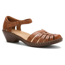 Clarks WENDY RIVER Womens Tan 69519 Leather Ankle Strap Heel Sandal Shoes