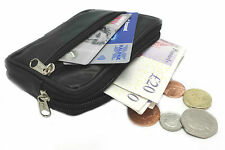 REAL LEATHER TRAVEL WALLET DISCRETE HOLDER PURSE POUCH MONEY BELT LOOP COIN