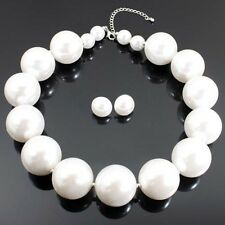 US Fashion One Strand Chunky Pearl Beads Statement Necklace and Earrings Set