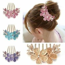 Women Lily Flower Rhinestone Hair Pin Clip Barrette Comb Hairpin Bridal 5Colors
