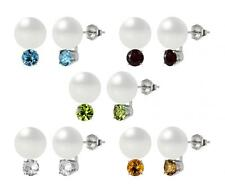 Sterling Silver 925 Freshwater Cultured Button Pearl and Round Gemstone Earrings