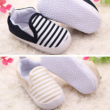 Baby Kids Toddler Unisex Boys Girls Cotton Sole First Navy Stripe Cloth Shoes