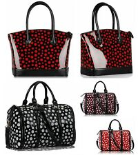 LADIES PATENT POLKA DOT TOTE BAG LARGE SHOULDER SHOPPER BARREL CATWALK HANDBAG