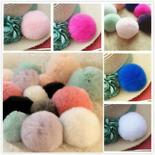 6cm Luxury Warm Soft Real Genuine REX Rabbit Fluffy Fur Ball Keyrings Cell Phone