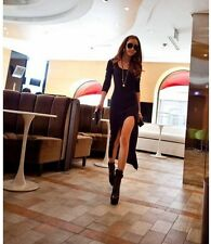 Womens Chic Stylish POP Long Sleeve Slim Irregular Asymmetric Maxi Long Dress ab