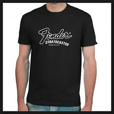 Fender Stratocaster Made In USA logo black short sleeve tshirt