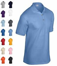 Mens Polo Shirt Short Sleeve Summer Top Moisture Wicking NEW Dryblend By Gildan