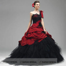 Custom Gothic Red/Black Wedding Dresses Plus size One Shoulder Bridal Ball Gowns