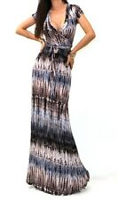 SHORT SLEEVE MAXI DRESS TIE DYE STRIPED WRAP DRESS V-NECK MADE IN THE USA