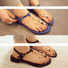 Summer Anchor Ankle Flat Sandal womens Pirates Flip Comfy Shoes T Strap Slipper