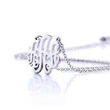 Initial Monogram Personalized Letter Necklace Stainless Steel Silver Pendant