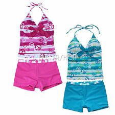 2Pcs Girls Kids Halter Tankini Swimwear Beachwear Bikini Swim Bathing Suit 7-16