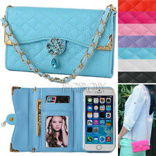 New Bling Crystals PU Leather Handbag Wallet Case Cover For Apple iPhone Series