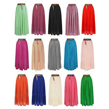 Chiffon Double Layer Pleated Women Long Maxi Dress Retro Elastic Waist Skirt